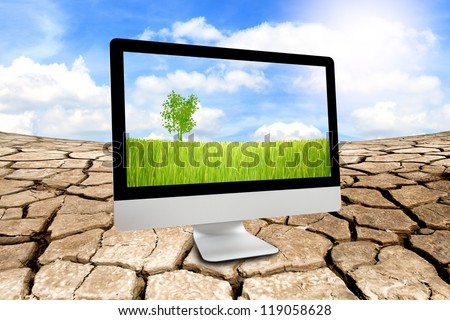 Green rice farm in monitor with ecology concept