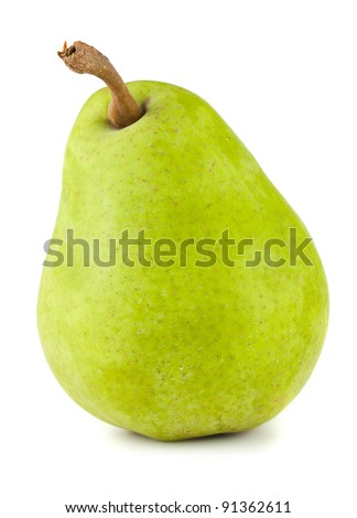 Green ripe pear isolated on white background