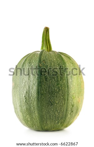 Green ripe pumpkin isolated over a white background