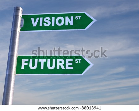 Green Road Sign directing to visions and to the Future