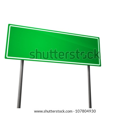 Green Road Sign Isolated on White