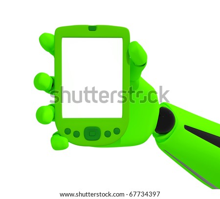 Green robotic hand hold a blank pda. Including clipping path