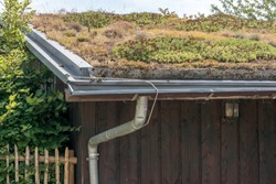 Green roof on an ecologically built farmhouse