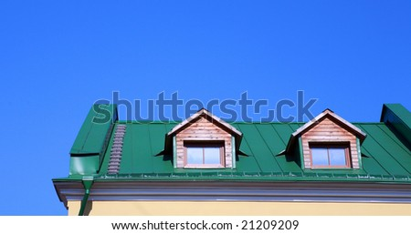 green roof on on house with wood garret