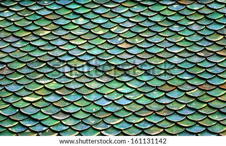 green roof tiles of Buddhist temple