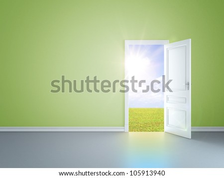 green room with an open door in field