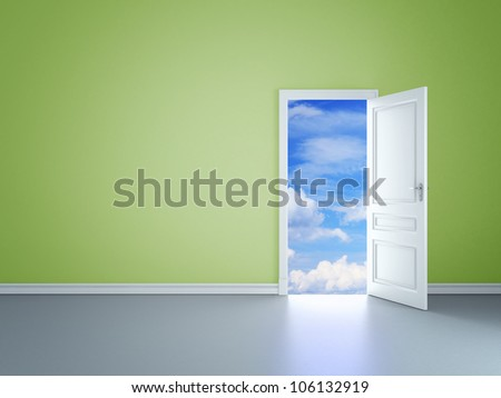 green room with an open door in sky