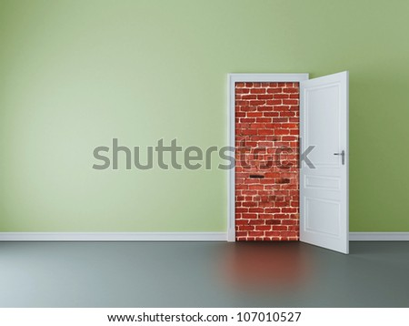 green room with opened door to brick wall