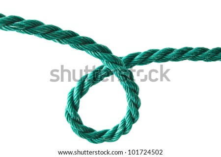 Green rope closeup on white background