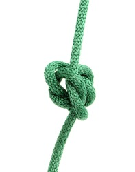 green rope with knob isolated on white background