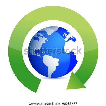 green round arrows around globe illustration design