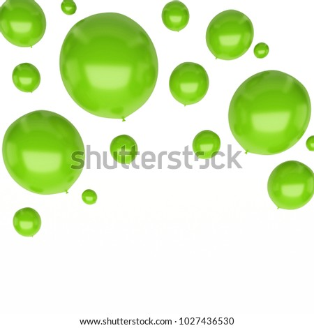 Green round baloons on upstairs isolated on white background. 3D illustration of holidays, party, birthday baloons