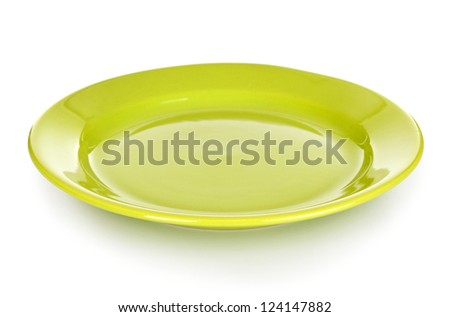 green round plate or dishes isolated on white with clipping path included