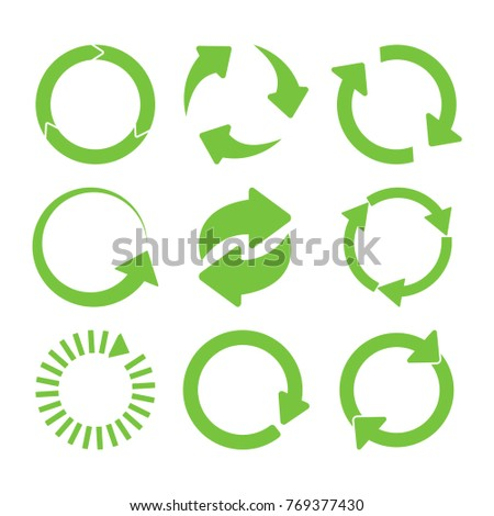 Green round recycle icons set