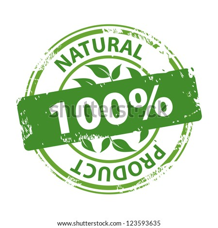 Green rubber stamp with text Natural product 100% isolated on white background