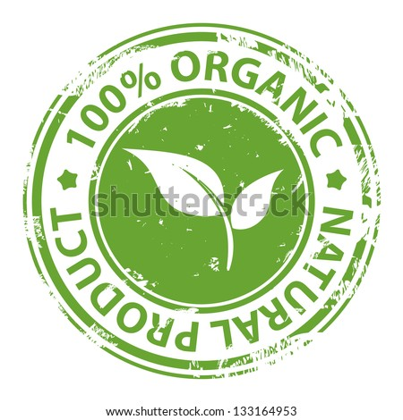 Green rubber stamp with text 100% Organic natural product isolated on white background