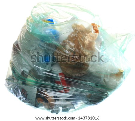 Green rubbish bag with mixed trash garbage isolated on white background