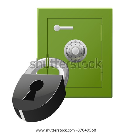 Green safe with code lock and padlock. Vector available.