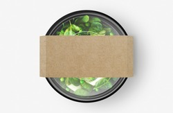 Green Salad Food Container With Cover Sticker Mockup