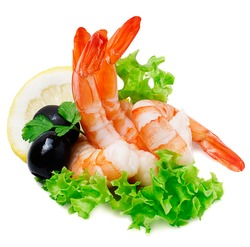 Green salad with shrimps and lemon isolated on white background for your design