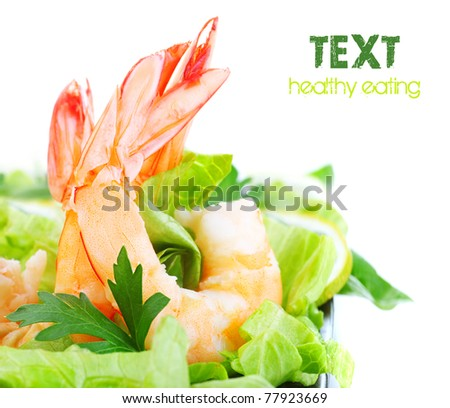 Green salad with shrimps, border isolated on white background, healthy eating concept - stock photo
