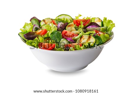 Green salad with tomato and fresh vegetables isolated on white background