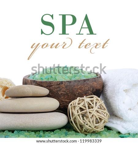 Green salt for baths isolated on white