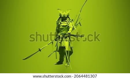 Green Samurai Post-Punk Warrior with Green Background 3d illustration render