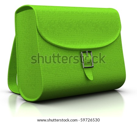 green satchel isolated on white - 3d illustration/rendering
