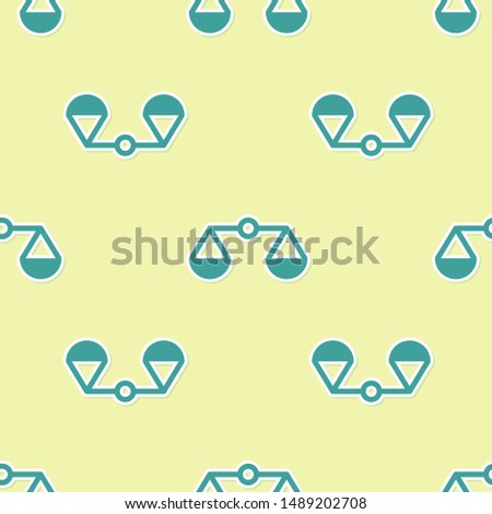 Green Scales of justice icon isolated seamless pattern on yellow background. Court of law symbol. Balance scale sign
