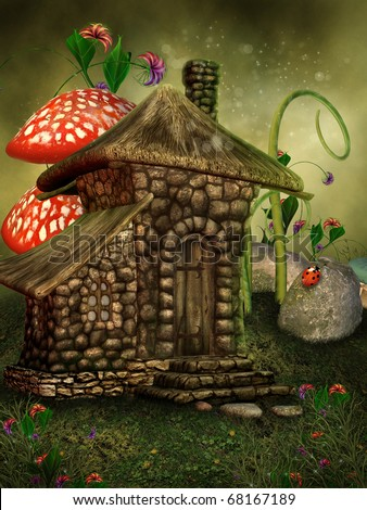 Green scenery with a fairy cottage and colorful flowers