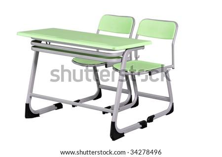 green school desk on white background