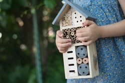 Green schooling. Girl holding insect hotel