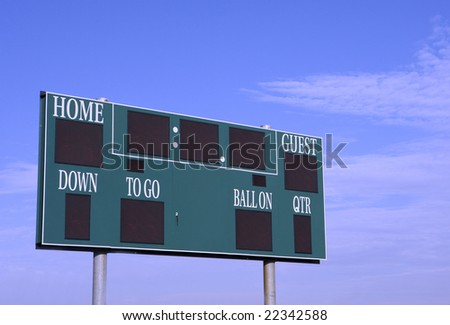 Green score board with background blue sky