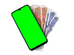 Green Screen Chroma Cell Phone with 5 and 1 Thousand Pakistani Currency Notes