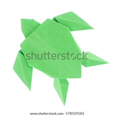 Green sea turtle of origami, isolated on white background. #578359183