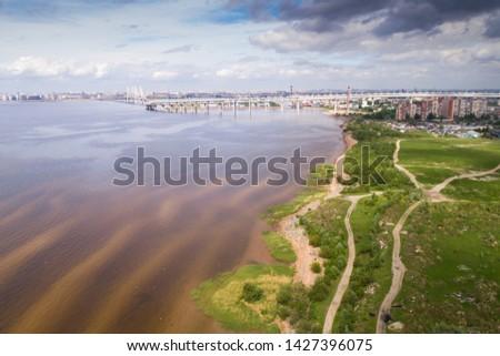 green seashore aerial drone shot #1427396075