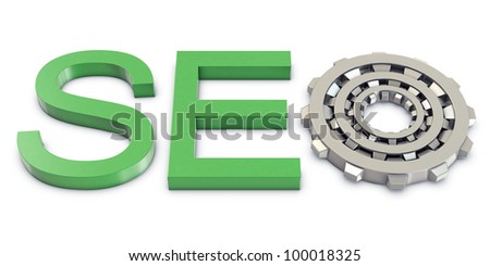 Green SEO text with silver gears
