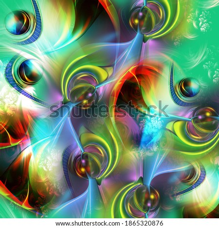 green shade 3D fractal art work with shade of red,yellow,black and multi color art design  Foto stock ©