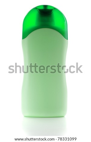 Green shampoo bottle. Isolated on white background