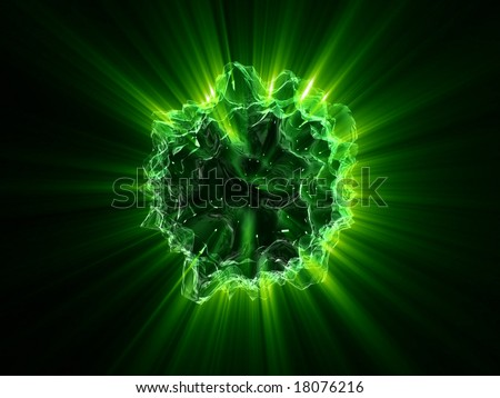 green shines from alien object