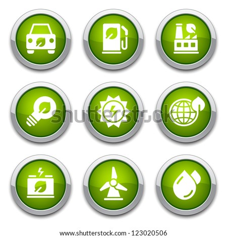 Green shiny environmental buttons for design