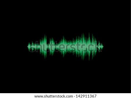Green shiny music waveform with rectangular edges