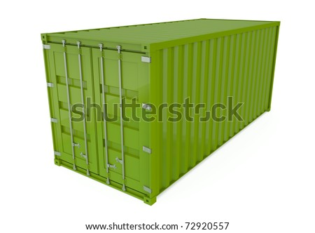 Green shipping container isolated on white. 3D render.
