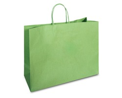Green shopping bag on white background with clipping path