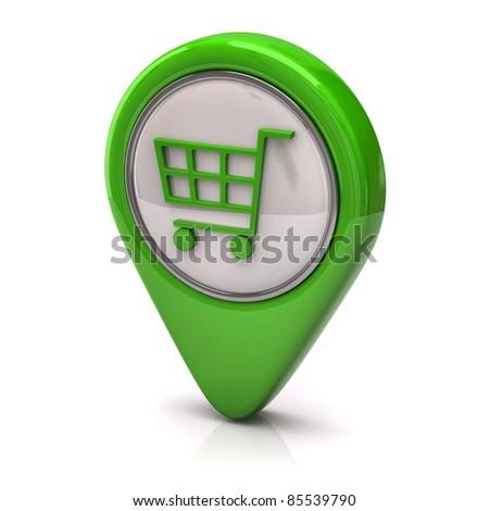 Green Shopping cart icon