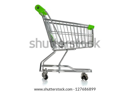 Green shopping cart isolated in white