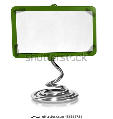 green sign over white background with blank paper fixed on it with adhesive tape