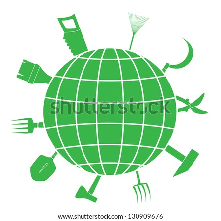 green sign with garden tools and planet silhouette, symbol landscaping