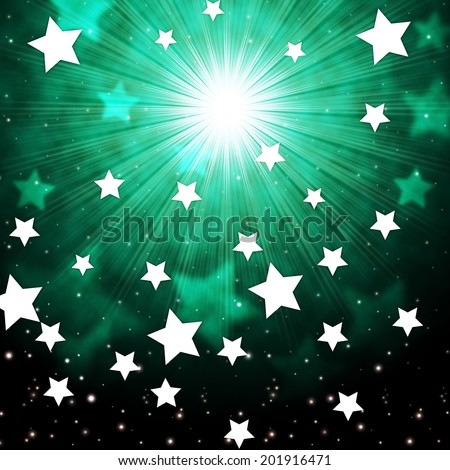 Green Sky Background Showing Radiance Stars And Heavens